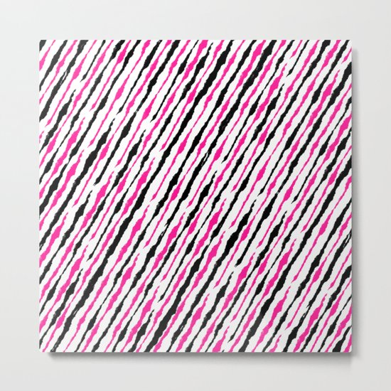Pink and Black Pattern Metal Print