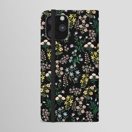 Spring Bloom Black iPhone Wallet Case