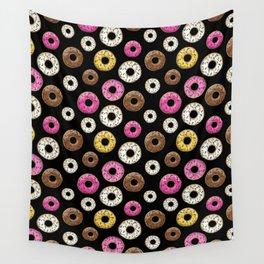 Donut Pattern - Black Wall Tapestry