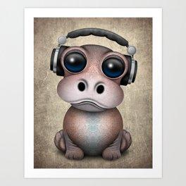 Cute Baby Hippo Dj Wearing Headphones Art Print