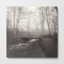 THE LONELY BRIDGE IN FOG. Metal Print