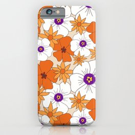 Retro Desert Flowers Print, White, Orange, Yellow Floral, Boho, 70s, 60s iPhone Case