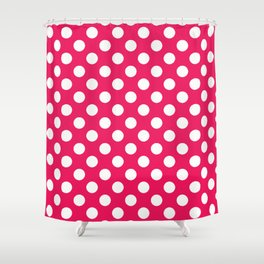 Infra Red Polka Dot Pattern Shower Curtain