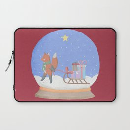 Fox Sled Gifts in Snow Globe Laptop Sleeve