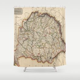 Vintage Map of Hungary (1817)  Shower Curtain