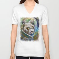 space cat V-neck T-shirts featuring Space Cat by Michael Creese