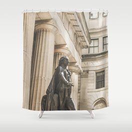 Federal Hall, New York City photo, George Washington statue, NY, NYC photography Shower Curtain