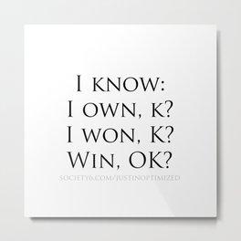 I Know anagram Metal Print