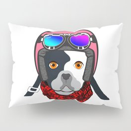 Dog in the Pink Helmet Pillow Sham