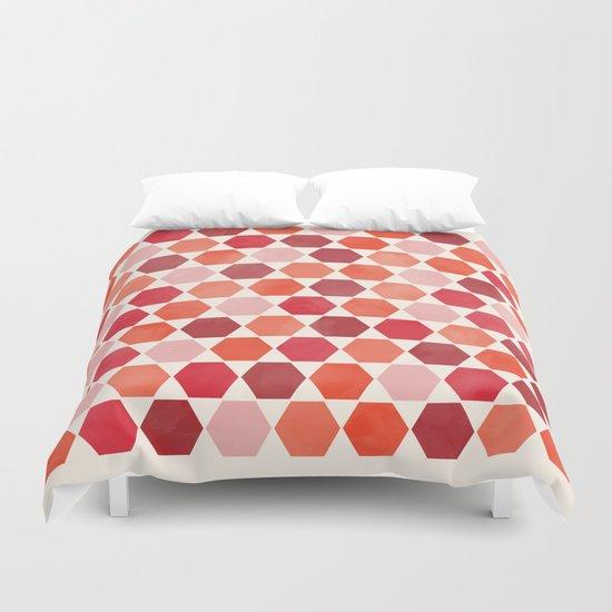 Red Tiles Duvet Cover