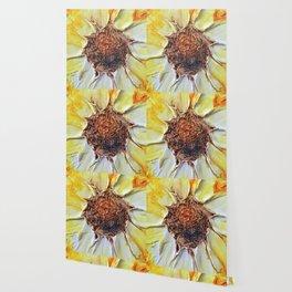 Yellow Textured Flower Wallpaper