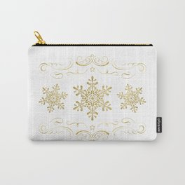 Ornate Golden Snowflakes Carry-All Pouch