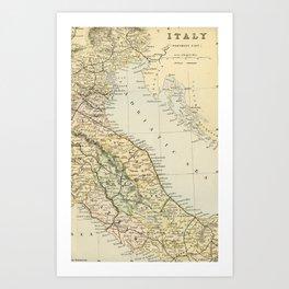 Retro & Vintage Map of Northern Italy Art Print