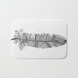 Black and White Feather Zen Bath Mat