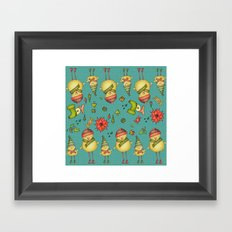 Two Chicks Pattern Framed Art Print