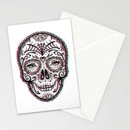Sugar Skull (Calavera) Chromatic Aberration - Cyan Magenta Yellow Stationery Cards
