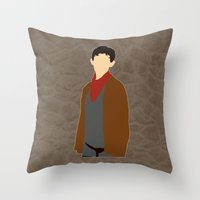 merlin Throw Pillows featuring Merlin by MacGuffin Designs