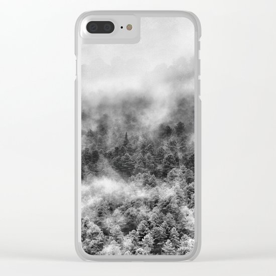 """Mountain light III BW"". Foggy forest. Clear iPhone Case"