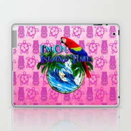 Pink Tiki Island Time Surfing Laptop & iPad Skin