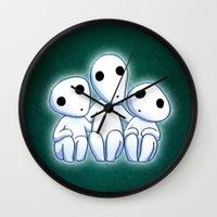 kodama Wall Clocks featuring Kodama, Tree Spirits by Lara Frizzell