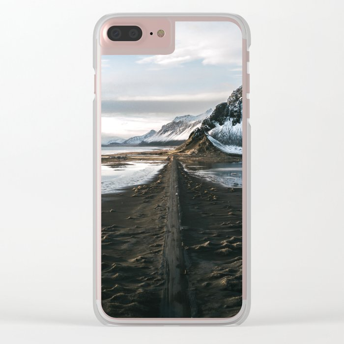Mountain beach road in Iceland - Landscape Photography Clear iPhone Case