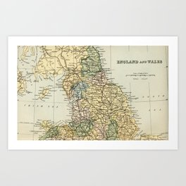 North England and Wales Vintage Map Art Print