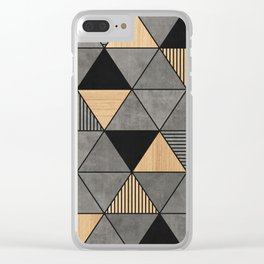 Concrete and Wood Triangles 2 Clear iPhone Case