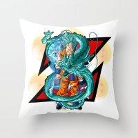 dbz Throw Pillows featuring DBZ - A Hero by Mr. Stonebanks