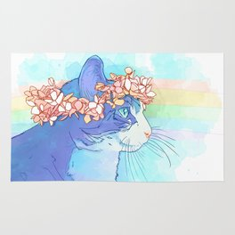 Cat with Flower Crown Rug