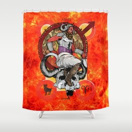 "Ars Tarot of the 12 Zodiac: ""Aries - The Emperor"" Shower Curtain"