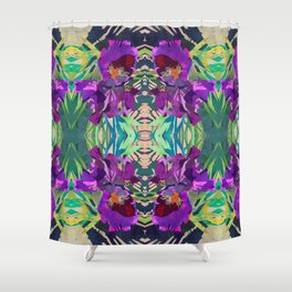 Watercolor Iris Flower with Shadows - Bright Purple & Pink Shower Curtain