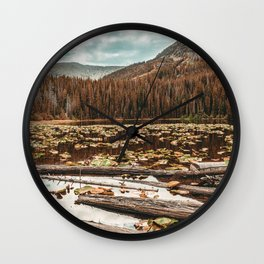 Rustic Lake // Autumn Filter Lilly Pond Green Leaves Logs and Natural Mountain Woodland Wall Clock