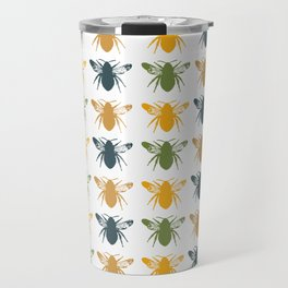 Honey Bees in yellow, gold and navy Travel Mug