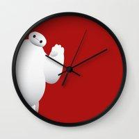 baymax Wall Clocks featuring Baymax by Rchel_h_Smith