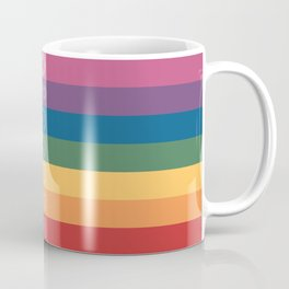 Seven Chakra Mandalas on a Striped Rainbow Color Background Coffee Mug
