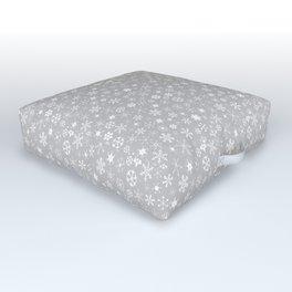 Silver & White Christmas Snowflakes Outdoor Floor Cushion