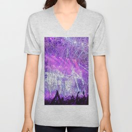 Cheering Crowd Celebrating At Concert Lilac Saturation Unisex V-Neck