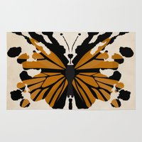 rorschach Area & Throw Rugs featuring Rorschach Monarch by AdamAether