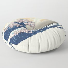 The Great Wave of Pigs Floor Pillow