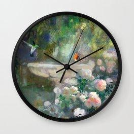Bird Bath Fountain Wall Clock