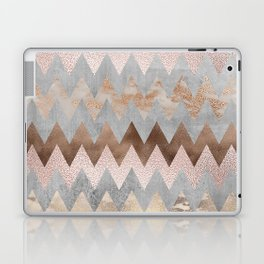 Rose Gold Chevron Glitter Glamour Marble Gem Laptop & iPad Skin