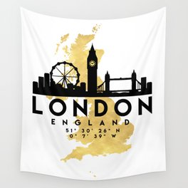 LONDON ENGLAND SILHOUETTE SKYLINE MAP ART Wall Tapestry