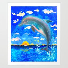 Baby Dolphin 5D Radiance Art Print