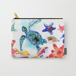 Sea World,Underwater Scene coral sea, beach tropical ocean sea beach house design Carry-All Pouch