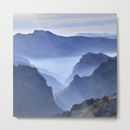 Blue mountains. Foggy sunrise. Sierra nevada Metal Print