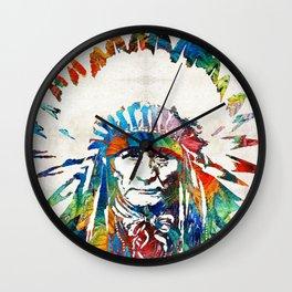 Native American Art - Chief - By Sharon Cummings Wall Clock