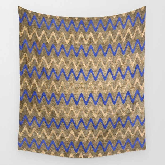 Blue and Tan Zigzag Stripes on Grungy Brown Burlap Graphic Design Wall Tapestry