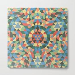 Triangle Kaleidoscope Mandala Metal Print