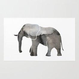 Black Watercolor Elephant Rug