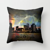 new orleans Throw Pillows featuring New Orleans by Kelly King